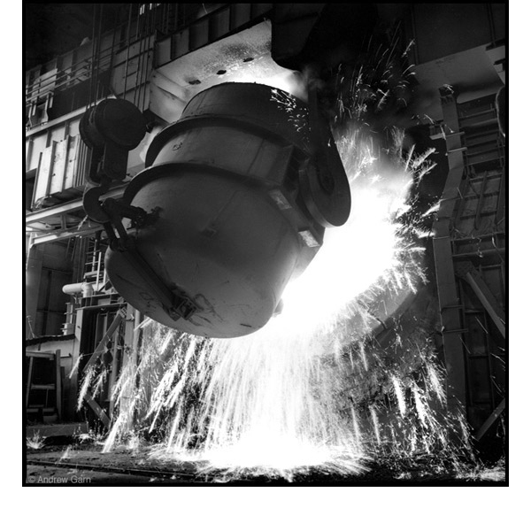 Pouring Molten Steel, MMK Steel Works, Siberia