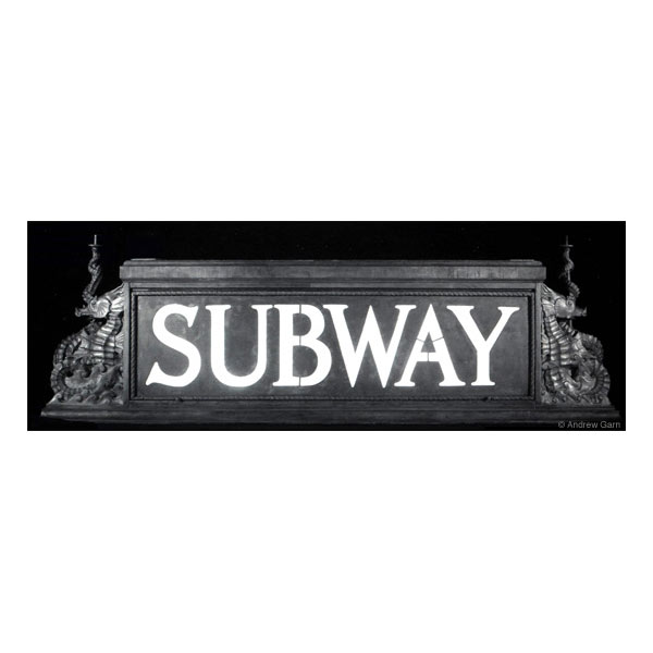 subway sign with copper seahorses from graybar building