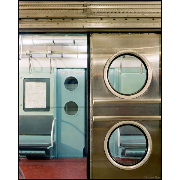 R-11 subway car, round windows, stainless steel