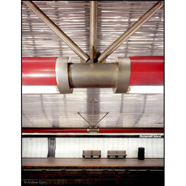 roosevelt island subway station, stainless steel